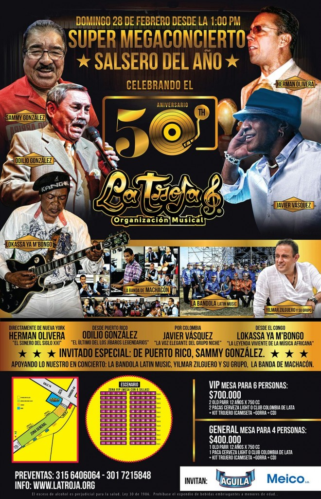 Super mega concierto aniversario 50 La Troja Barranquilla